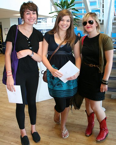 A-level students get their results at New College in Swindon