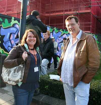 Garry Perkins, lead member for children services at Swindon Borough Council and Alison Boyle youth worker outside the former railway museum