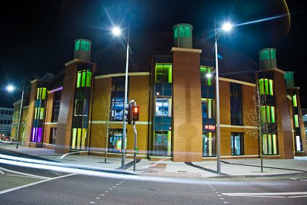 Swindon's Central Library at night