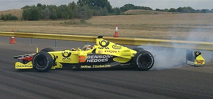 Jean Alesi crashes the Jordan Honda into the barriers at the Honda factory in Swindon