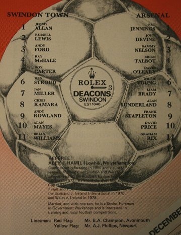 Swindon Town v Arsenal teams 11 December 1979
