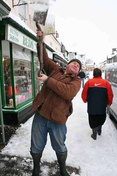 Sean Vockins attempting that rare Winter Olympic sport - shovelling snow into people's faces