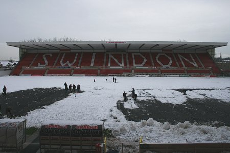 Swindon Town Football Club in the snow