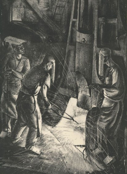 Leslie Cole - workmen at a steam hammer1939