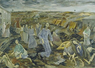 Swindon artist Leslie Cole - Belsen Camp: The compound for women, 1945