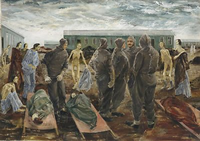 Leslie Cole - official war artist - Sick Woman and the Hooded Men of Belsen, 1945