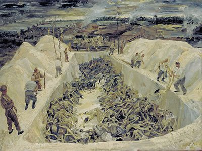 Swindon artist Leslie Cole - One of the Death Pits, Belsen. SS guards