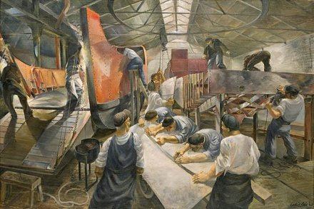 Swindon artist Leslie Cole's painting of a landing craft being built at the GWR Swindon Works during WW2