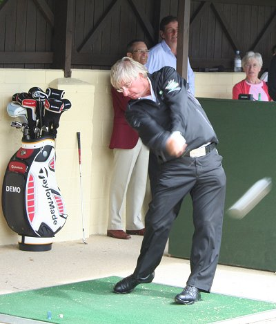 Peter Mitchell hitting balls at Wrag Barn Golf Club