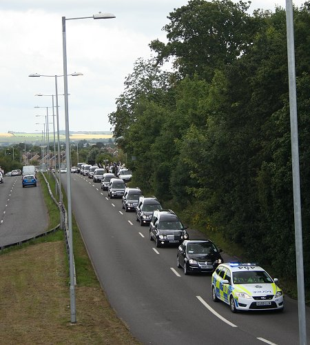 Repatriation funeral courtege passes through Swindon