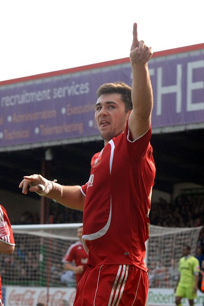 Charlie Austin celebrates after scoring the third for Swindon Town v Tranmere 05 April 2010