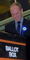 Justin Tomlinson at the general election count in Swindon