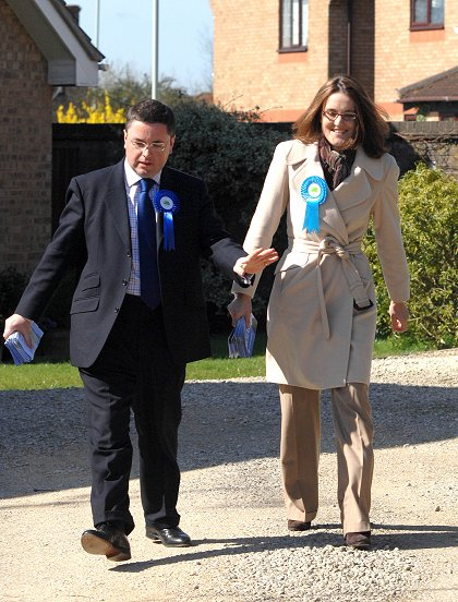 Robert Buckland and Theresa Villiers in Swindon