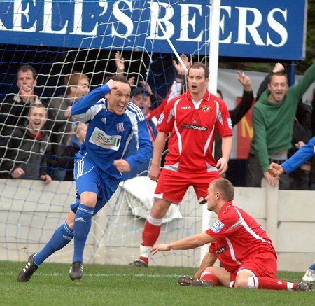 Ben Wells celebrates scoring the second for Supermarine against Eastwood