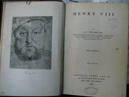 Henry VIII book from The Mechanics Institute Library, Swindon