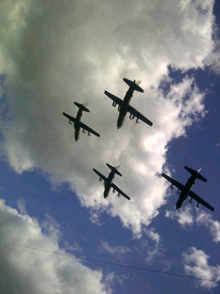 Last RAF Lyneham Hercules flyover over Swindon