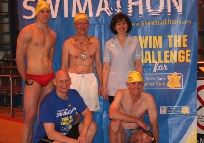 Duncan Goodhew swims in Swindon